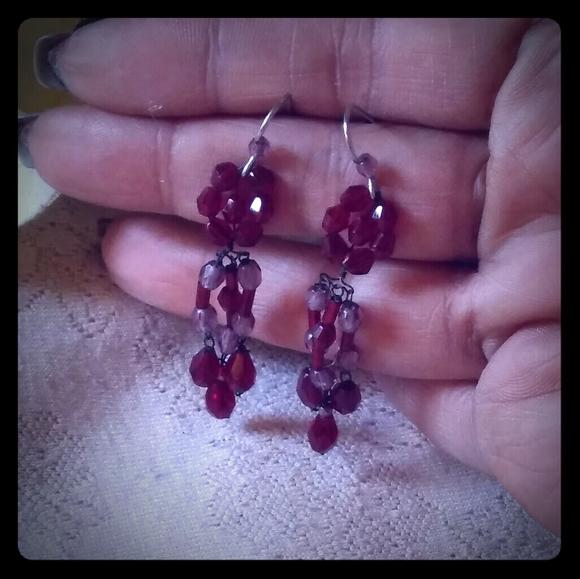 RETRO DAISY HOOPS in Cranberry